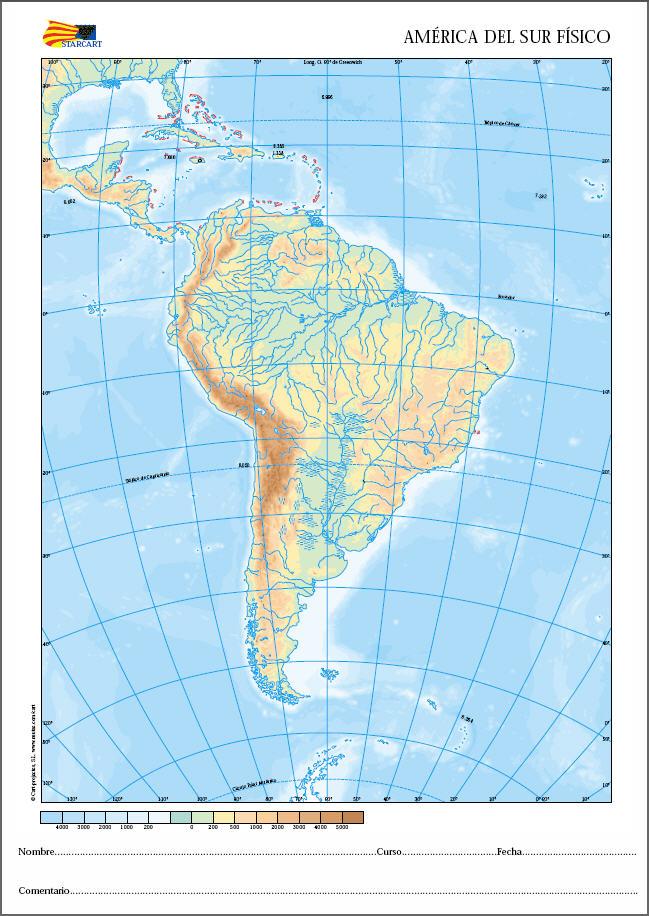 Mapas fsicos de los continentes